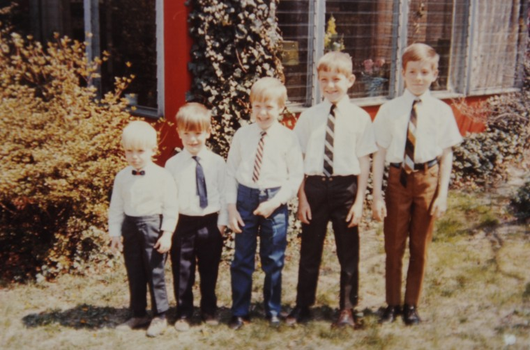From left, Tommy, Toby, Tige, Danny and Kirk Sheehan are seen in a family photo from around the time their father wrote the Memorial Day letter.