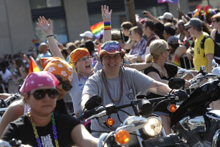 Motorcycle riders take part in the Capital Pride Parade in Washington, June 8, 2013. (Jonathan Ernst / Reuters)