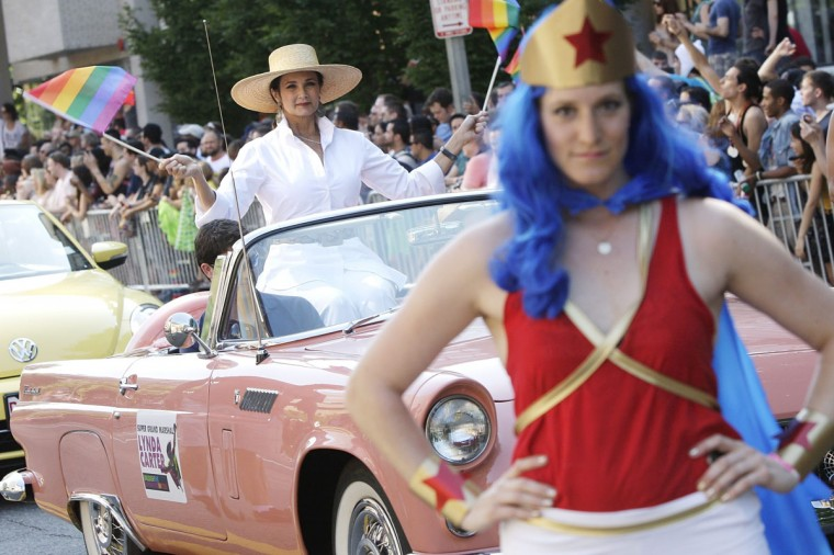 Lynda Carter, who played Wonder Woman on television, serves as the grand marshal for the Capital Pride Parade in Washington, June 8, 2013. (Jonathan Ernst / Reuters)