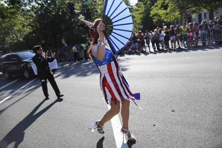 A drag queen dressed in red, white and blue takes part in the Capital Pride Parade in Washington, June 8, 2013. (Jonathan Ernst / Reuters)