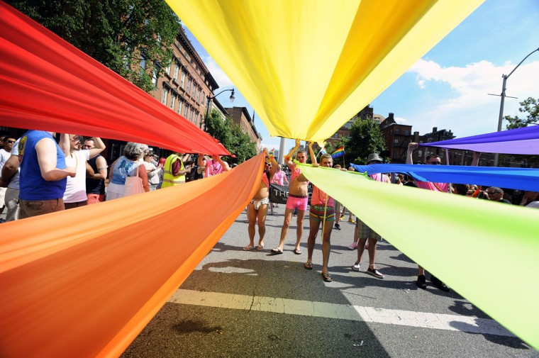 Gay, lesbian and transexual supporters march in the Baltimore Gay Pride parade at Mount Vernon. (Kenneth K. Lam / The Baltimore Sun)