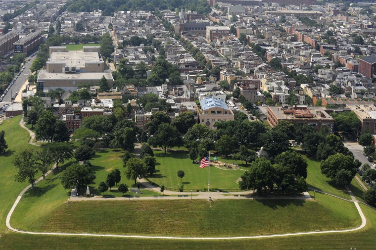 Federal Hill Park is photographed from a helicopter in 2009. (Lloyd Fox / The Baltimore Sun)