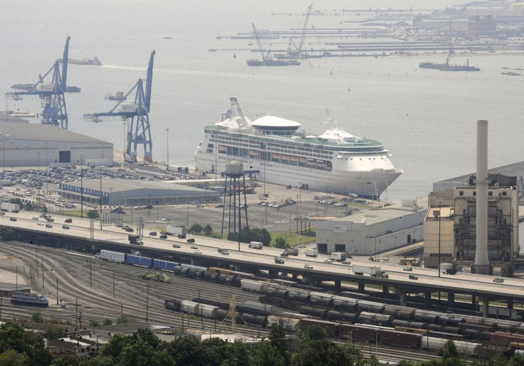 A cruise liner docked at Locust Point in Baltimore is seen from the air in 2009. (Lloyd Fox, The Baltimore Sun)