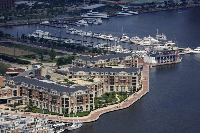 The Ritz Carlton Residences near Federal Hill Park are photographed from a helicopter in 2009. (Lloyd Fox / The Baltimore Sun)
