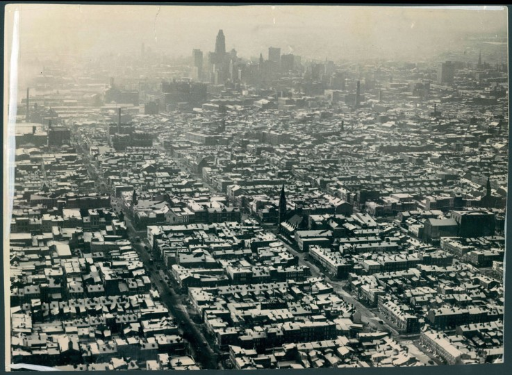 Sun photographer Robert F. Kniesche took this photo of the Baltimore skyline in 1938 looking from East Baltimore. (Robert F. Kniesche / The Baltimore Sun)