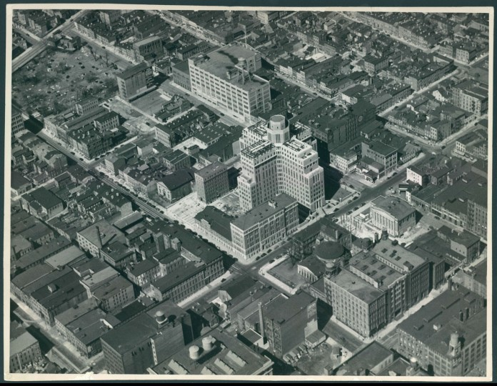 The University of Maryland Medical School -- on the west side of Baltimore's downtown -- is seen from above in 1939. (Robert F. Kniesche / The Baltimore Sun)