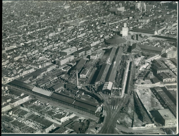 Mount Clare Station -- which would later become the Baltimore and Ohio Railroad Museum -- is seen from above in 1939. (Robert F. Kniesche / The Baltimore Sun)