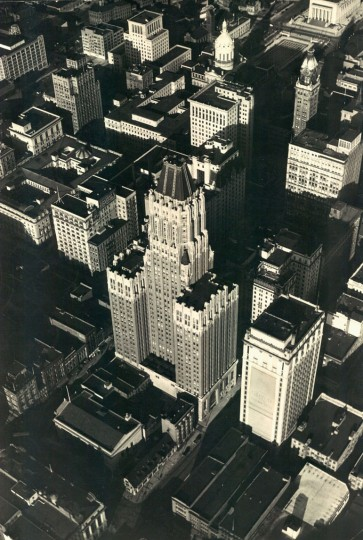 Baltimore Trust Company Building -- now the Bank of America Building -- is photographed from an airplane in 1949. (Robert F. Kniesche / The Baltimore Sun)