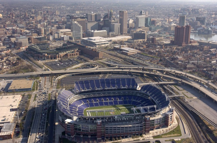 M&T Bank Stadium is seen from above in 2005. (David Hobby / The Baltimore Sun)