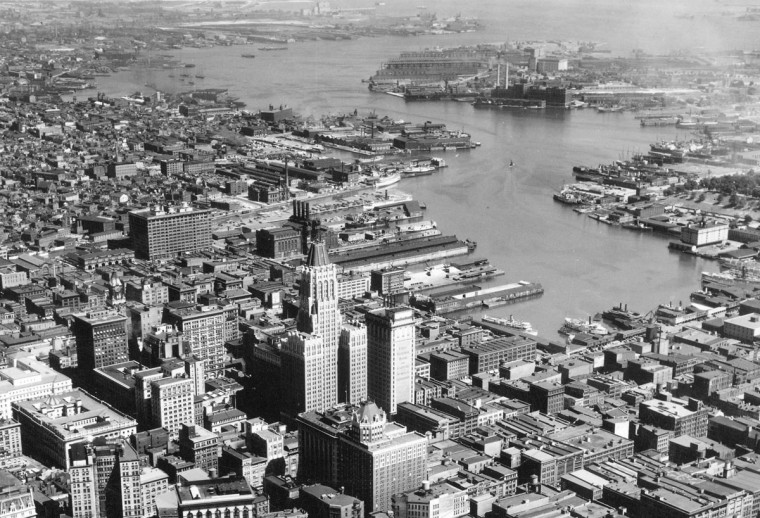The Baltimore skyline is seen from above in 1937. (Baltimore Sun File Photo)