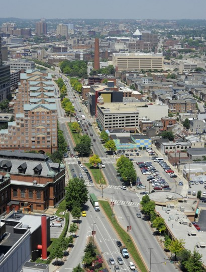 An aerial view of President Street in downtown Baltimore in 2013. (Lloyd Fox, The Baltimore Sun)
