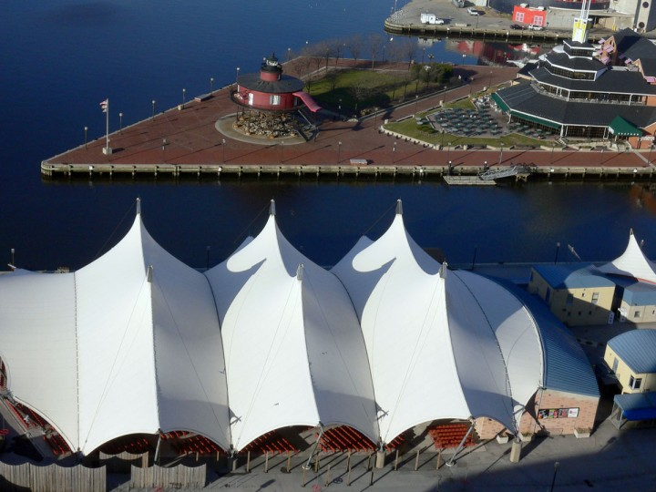 Pier Six concert pavilion is photographed from a helicopter in 2006. (Kim Hairston / The Baltimore Sun)