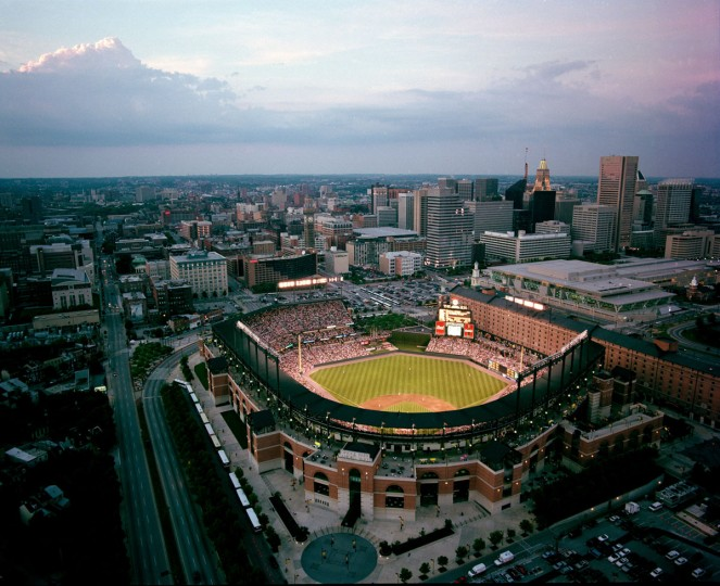 Oriole Park at Camden Yards is seen from above in 1998. (Doug Kapustin / The Baltimore Sun)