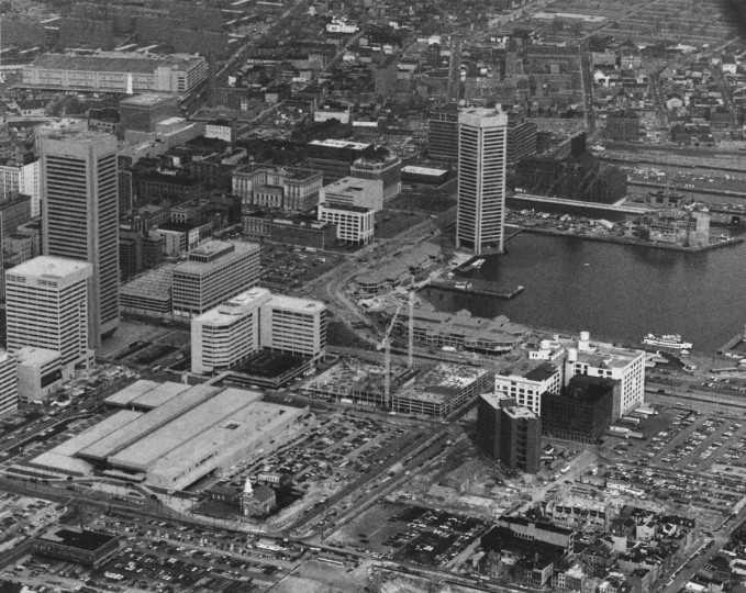 The Inner Harbor during construction of various project is seen in this aerial view from 1980. (William Hotz / The Baltimore Sun)