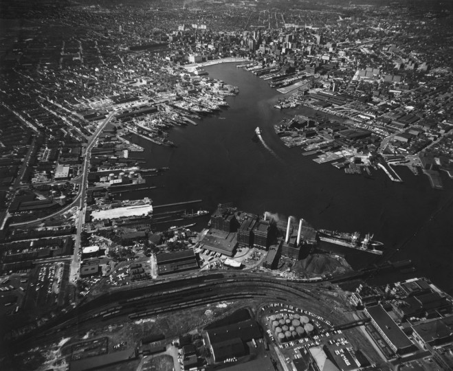 Baltimore's Inner Harbor is seen from above in 1960. (Richard Stacks / The Baltimore Sun)