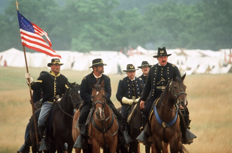 Reenactment of the Battle of Gettysburg: Union reenactor commander, Dave Valuska and his command staff survey the field before the battle during a reenactment in 2002. (Robert London / Special to The Baltimore Sun)