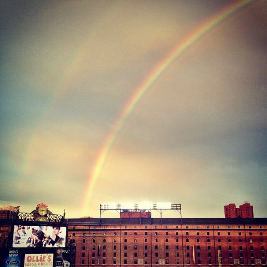 A double rainbow shines over Oriole Park at Camden Yards, on Fri., June 28, 2013. (Instagram photo by @vikvolk)