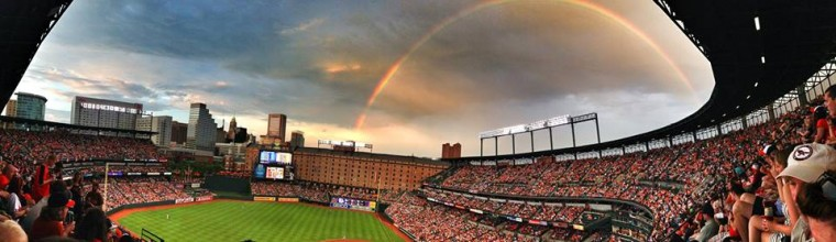 Photo of a rainbow at Oriole Park at Camden Yards on Fri., June 28, 2013. (Photo submitted by Kyle Farmer)