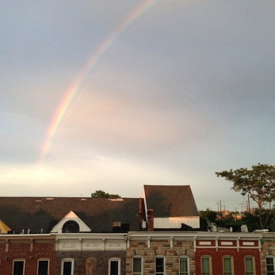 A rainbow shines over Baltimore in this photo taken on Fri., June 28, 2013. (Instagram photo by @jmf766)