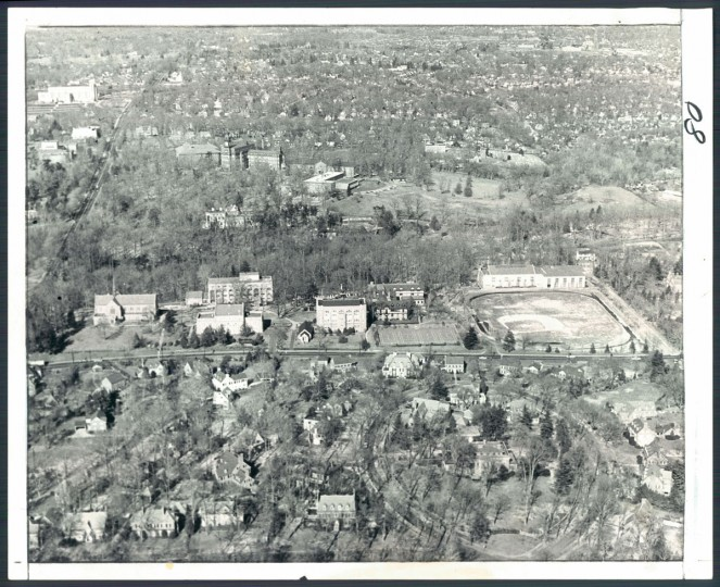 An aerial view of Loyola College in north Baltimore in 1965. (Clarence Garrett, The Baltimore Sun)