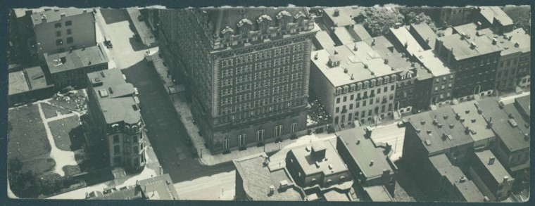 The Belvedere Hotel in Baltimore's Mount Vernon neighborhood is seen from above in 1923. (Baltimore Sun File Photo)