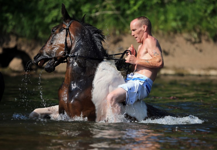 A traveller washes his horse in the waters of the River Eden in preparation for selling at the Appleby Horse Fair in Appleby, England. The Appleby Horse Fair has existed under the protection of a charter granted by James II since 1685 and is one of the key gathering points for the Romany, gypsy and traveling community. (Christopher Furlong/Getty Images)