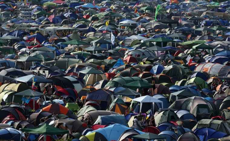 Tents fill the camping fields at the Glastonbury Festival of Contemporary Performing Arts site at Worthy Farm, Pilton on June 26, 2013 near Glastonbury, England. (Matt Cardy/Getty Images)