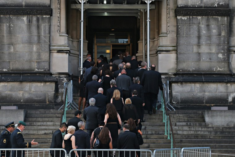 People arrive for actor James Gandolfini's funeral at The Cathedral Church of St. John the Divine. (Andrew Burton/Getty Images)