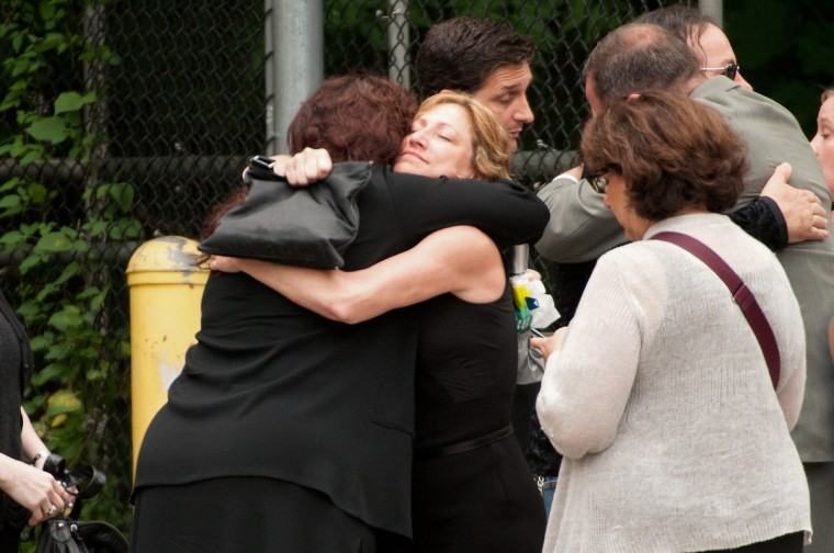 Actress Edie Falco attends the funeral for Actor James Gandolfini at The Cathedral Church of St. John the Divine on June 27, 2013 in New York City. (D Dipasupil/Getty Images)