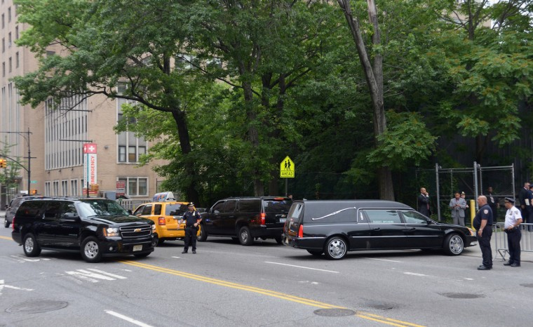 A hearse enters a side entrance at the funeral for Actor James Gandolfini at The Cathedral Church of St. John the Divine on June 27, 2013 in New York City. (Mike Coppola/Getty Images)