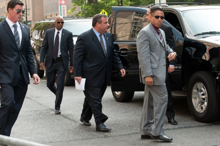 New Jersey Governor Chris Christie (C) attends the funeral for actor James Gandolfini at The Cathedral Church of St. John the Divine on June 27, 2013 in New York City. (D Dipasupil/Getty Images)