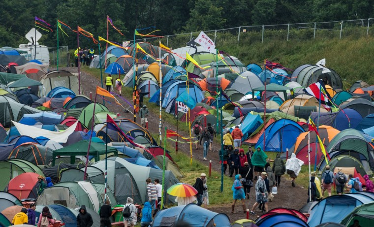General view of a camp site as rain falls during day 1 of the 2013 Glastonbury Festival at Worthy Farm on June 27, 2013 in Glastonbury, England. (Ian Gavan/Getty Images)