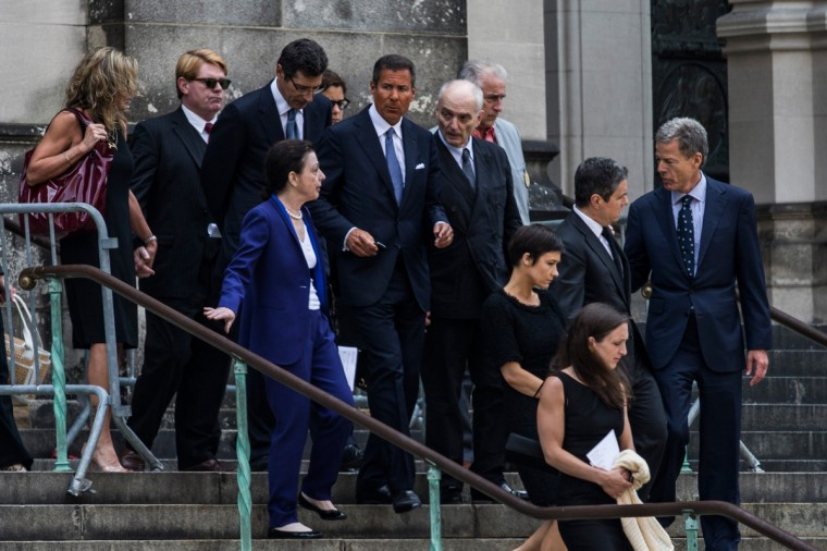 David Chase (center right) leaves the funeral for actor James Gandolfini at The Cathedral Church of St. John the Divine on June 27, 2013 in New York City. (Andrew Burton/Getty Images)