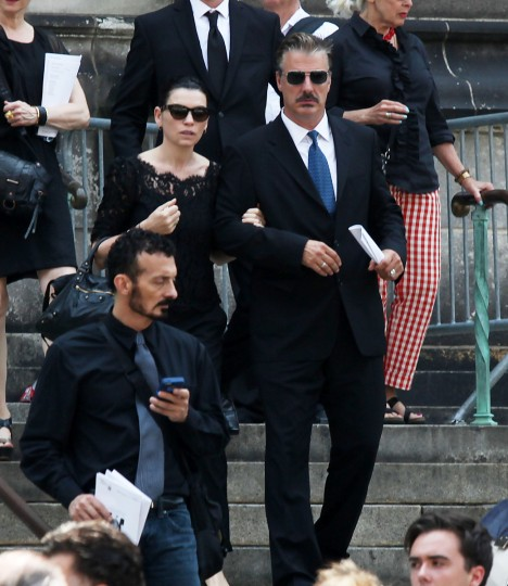 Chris Noth and Julianna Margulies leave the funeral of actor James Gandolfini at The Cathedral Church of St. John the Divine on June 27, 2013 in New York City. (Rob Kim/Getty Images)