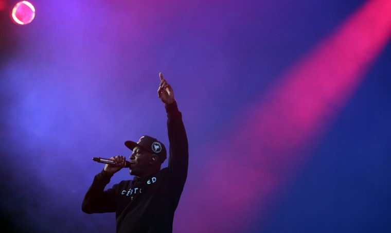 Dizzie Rascal performs on the Pyramid Stage at the Glastonbury Festival of Contemporary Performing Arts site at Worthy Farm, Pilton on June 27, 2013 near Glastonbury, England. (Matt Cardy/Getty Images)