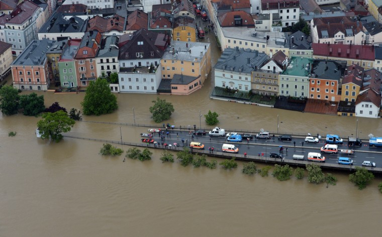 An aerial view of the overflooded Germany city of Passau on June 3, 2013. (Peter Kneffel/Getty Images)