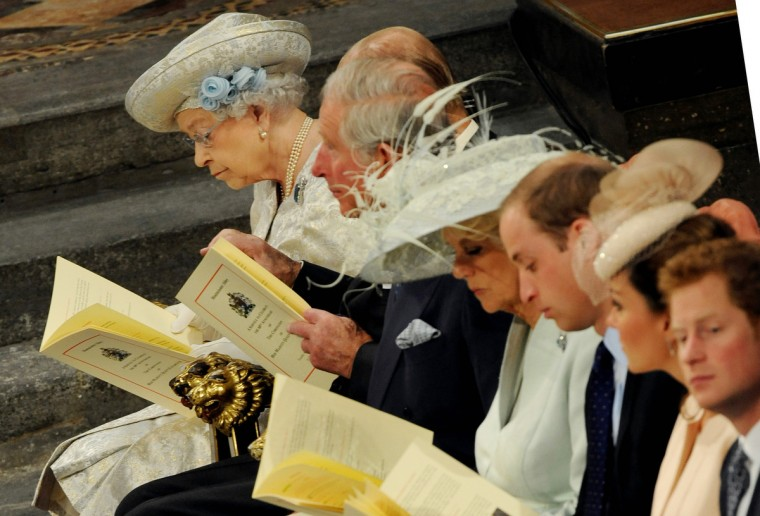 Queen Elizabeth II (L) sits amongst members of the Royal family during the service to celebrate the 60th anniversary of the Coronation of Queen Elizabeth II at Westminster Abbey in London. Queen Elizabeth II marked the 60th anniversary of her coronation with a service at Westminster Abbey filled with references to the rainy day in 1953 when she was crowned. (Anthony Devlin/Getty Images)