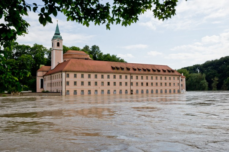 The flood waters in the Danube surround the Weltenburg Abbey in Weltenberg, Germany, on June 4, 2013. Heavy rains are causing serious floods in Bavaria and other areas in Germany. (Daniel Karmann/Getty Images)