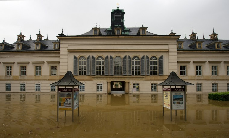 The flood waters along the Elbe River have reached Pillnitz Castle in Dresden, Germany, on June 4, 2013. Heavy rains over the past days are causing serious flooding in Saxony and other areas in Germany. (Arno Burgi/Getty Images)