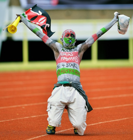 A Kenyan fan is pictured before their 2014 World Cup Qualifying match between Kenya and Nigeria at Kasarani football stadium. (Carl de Souza/Getty Images)