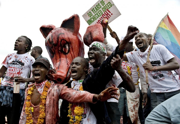 Protestors chant while cover a sculpture of a pig with rotten animal blood during a demonstration outside the parliament after lawmakers voted themselves hefty salary increases in Nairobi. The protestors had intended to occupy the parliament but were not allowed in by anti-riot police. (Tony Karumba/Getty Images)