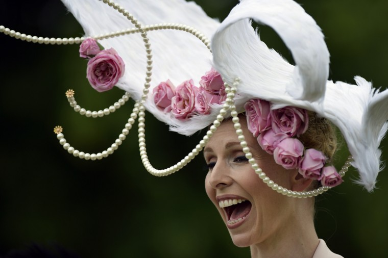 TV presenter and conservationist Anneka Tanaka-Svenska wears a hat designed by Louis Mariette during the first day of Royal Ascot, in Berkshire, west of London. (Adrian Dennis/Getty Images)