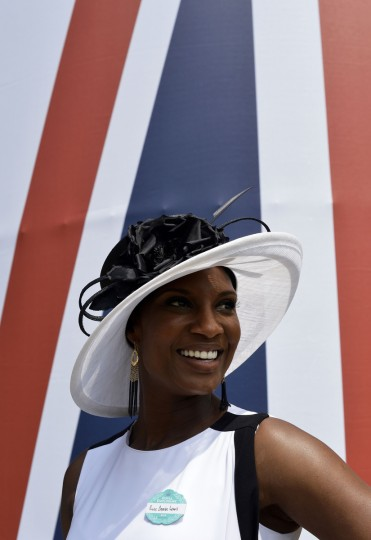 British former athlete Denise Lewis poses for a photograph during the second day of Royal Ascot, in Berkshire, west of London. (Adrian Dennis/Getty images)