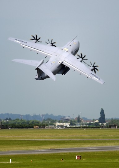 A French Airbus A 400 M takes off on Le Bourget airport, near Paris on June 19, 2013 during the 50th International Paris Air show. (Eric Feferberg/Getty Images)