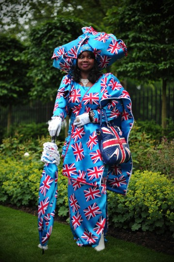 Genie Williams from the West Midlands poses for a photograph during the third day of Royal Ascot, in Berkshire, west of London. (Carl Court/Getty images)