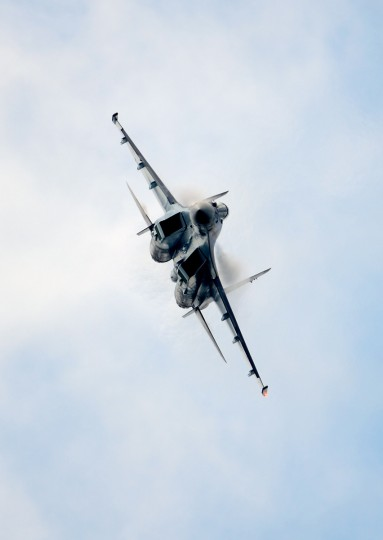 A Russian Sukhoi SU-35 flies over Le Bourget airport, near Paris on June 20, 2013 during the 50th International Paris Air show. (Eric Feferberg/Getty Images)