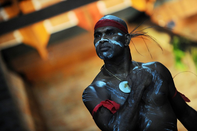 Australian indigenous dancer and choreographer Albert David performs in Colombo. The renowned dancer puts on a show in collaboration with a Sri Lankan performing arts foundation. (Ishara S. Kodikara/Getty Images)