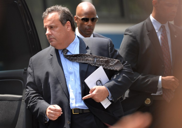"""New Jersey Governor Chris Christie departs the Cathedral Church of St. John the Divine after the funeral service for """"Sopranos"""" actor James Gandolfini on June 27, 2013 in New York. Gandolfini, who was on a working vacation in Rome, died last week. (Stan Honda/Getty Images)"""
