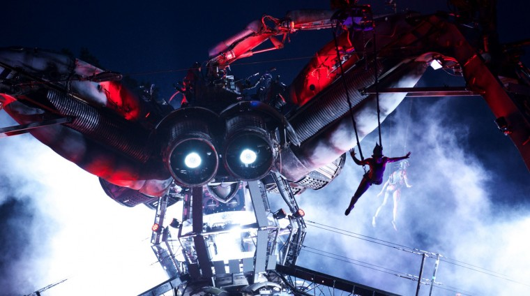 The Arcadia giant metal spider performs to music on the second day of the Glastonbury Festival of Contemporary Performing Arts near Glastonbury, southwest England, on June 27, 2013. (Andrew Cowie/Getty Images)