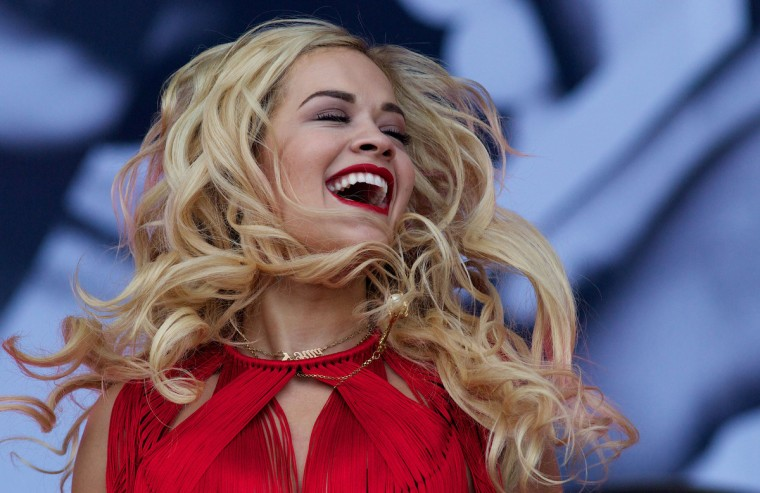 British singer Rita Ora performs on the Pyramid Stage on the third day of the Glastonbury Festival of Contemporary Performing Arts near Glastonbury, southwest England on June 28, 2013. (Andrew Cowie/Getty Images)
